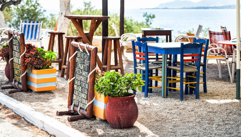 A beach bar in Greece