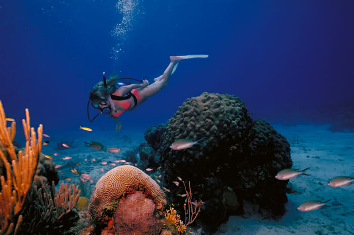 A girl diving in Asia