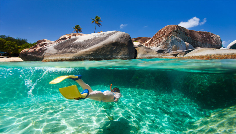 A girl snorkeling in the BVI