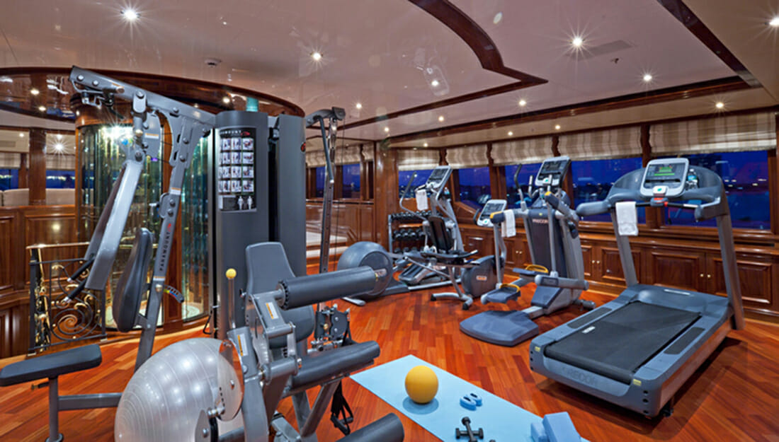 A gym on a yacht