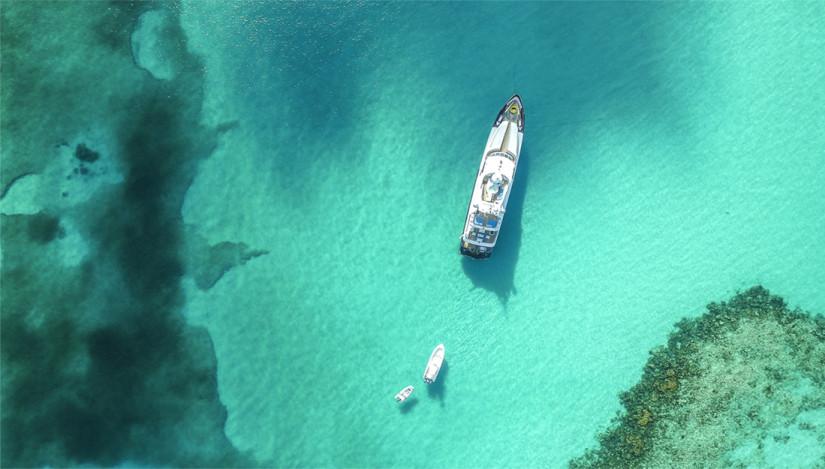 A yacht cruising the Exumas