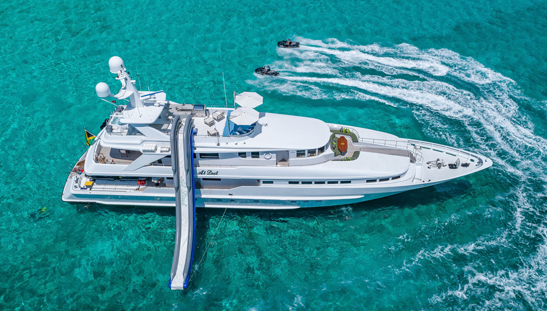 A yacht with water sports