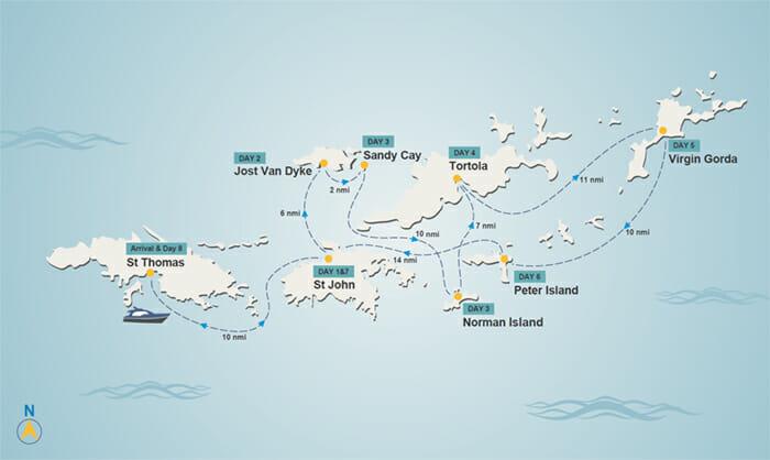 BVi itinerary map