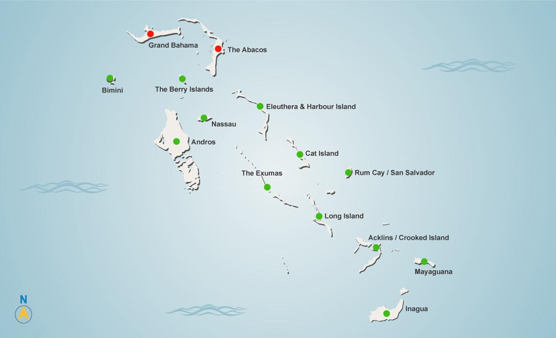 Bahamas Dorian map