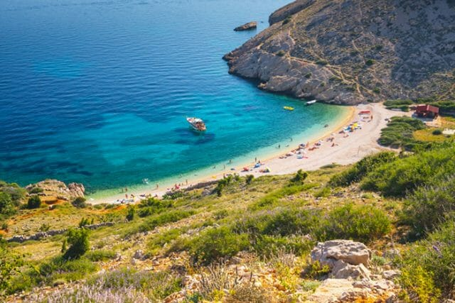 Baska beach on island Krk