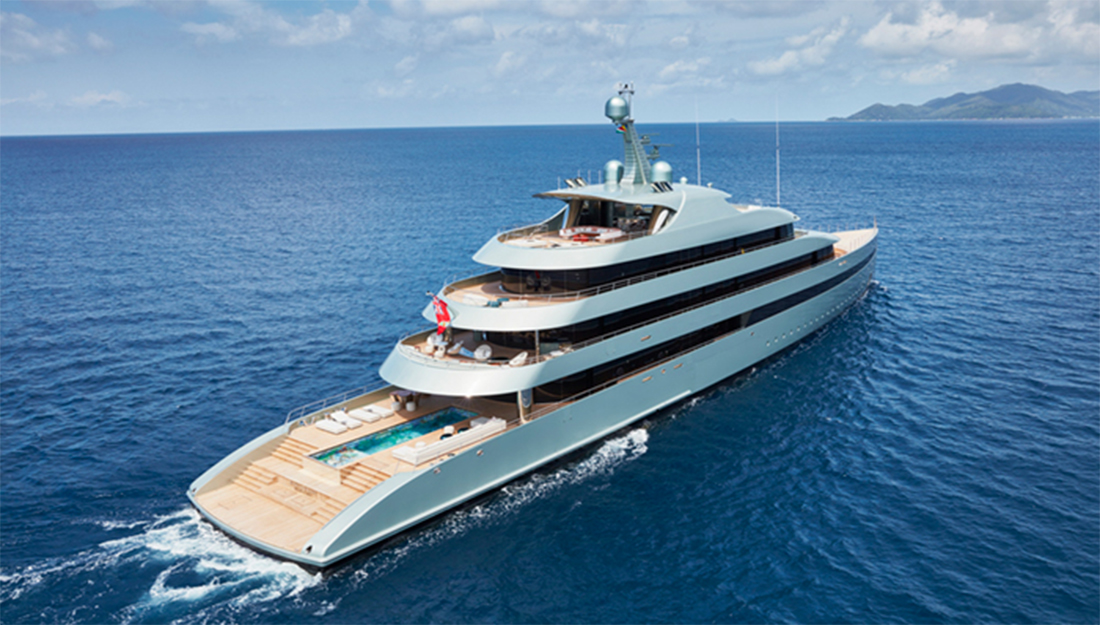 Expensive charter yacht