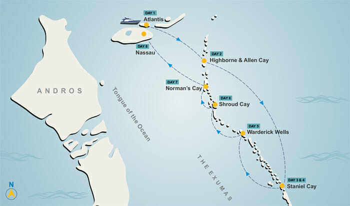 Exumas itinerary map