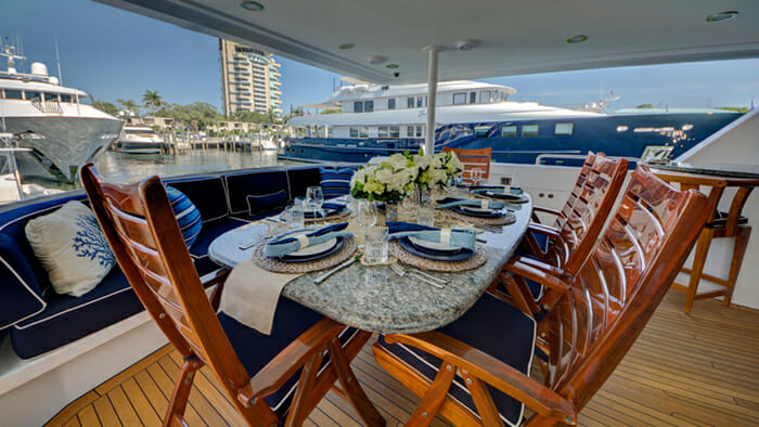 Frisky Lady Main Deck Dining