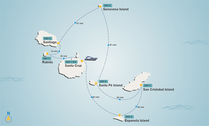 Galapagos itinerary map