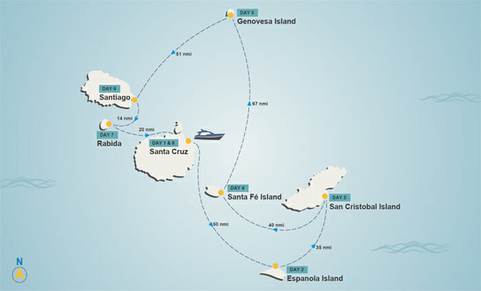 Galapagos itinerary map