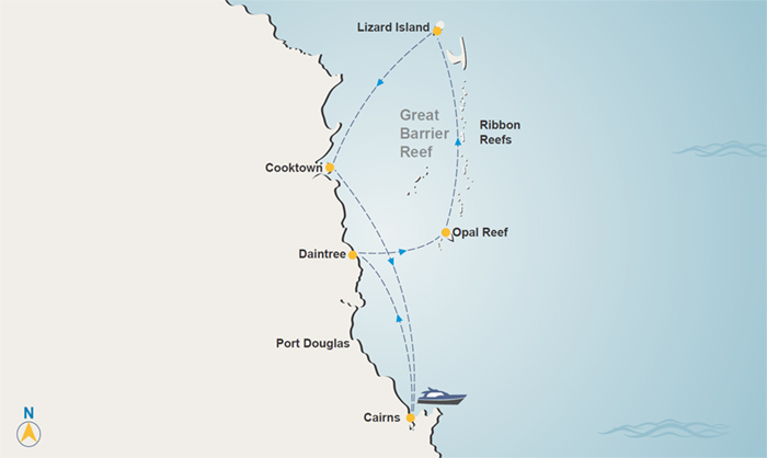 Great Barrier Reef charter itinerary map