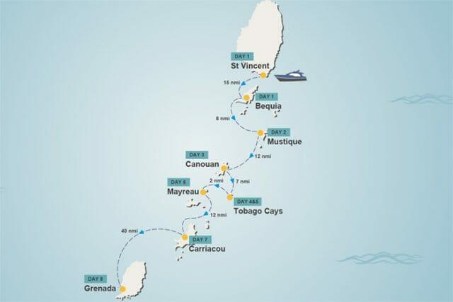 Grenadines yacht charter itinerary map