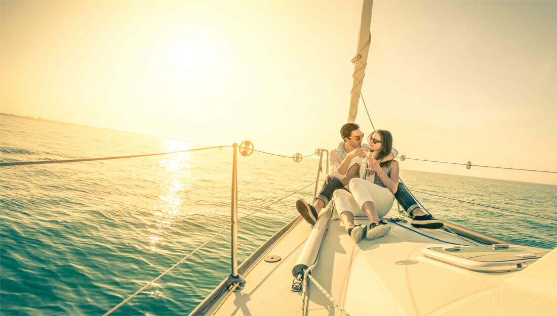 Honeymoon couple sailing