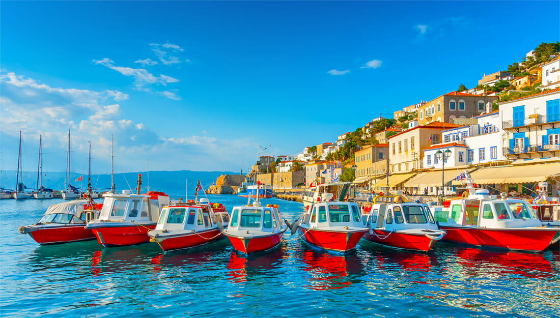 Hydra town and taxi boats