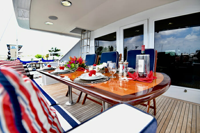 Impulse Yacht Aft Deck Dining