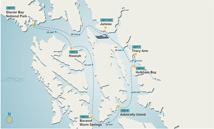 Juneau to Juneau itinerary map