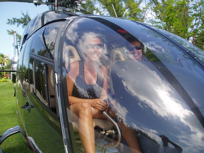 Laura in a helicopter