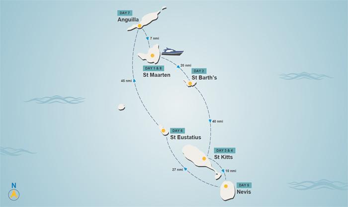 Leeward Islands itinerary map