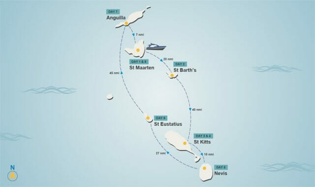 Leeward Islands itinerary map