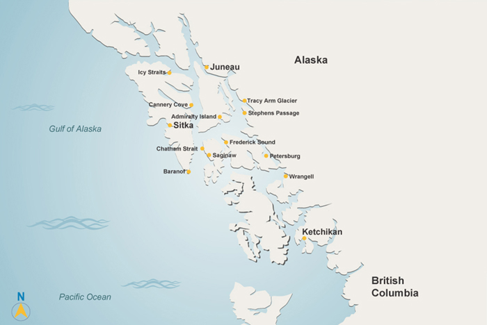 Map of Alaska yacht charter areas