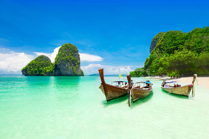 Phuket 3 boats and a beach