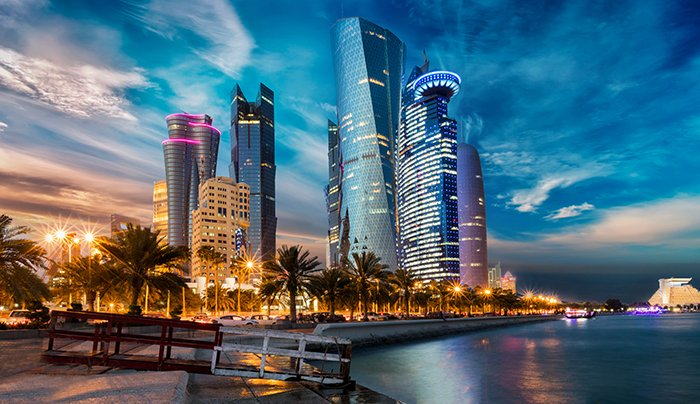 Qatar skyline at night
