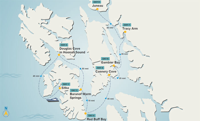 Sitka to Juneau map