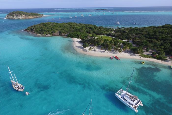 Tobago Cays boats at anchor
