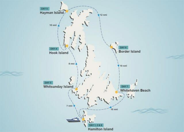 Whitsundays itinerary map