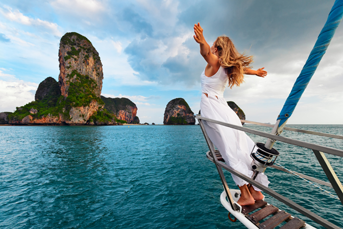 Woman on a yacht in Thailand