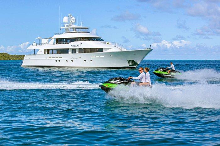 Yacht Antares and jetskis