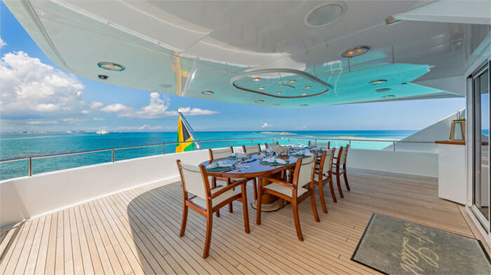 Yacht At Last Aft Deck Dining