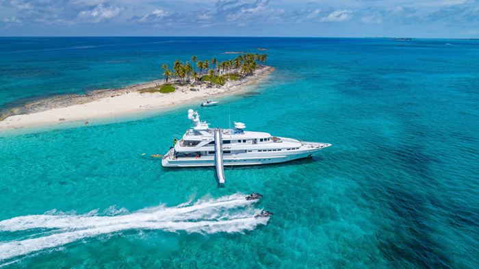 Yacht At Last and Jetskis in the Bahamas