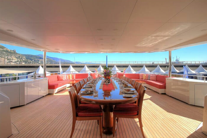 Yacht Balista Bridge Deck Dining