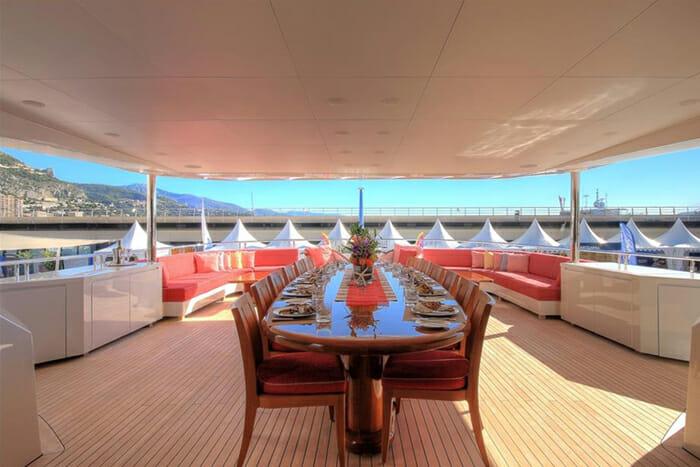 Yacht Balista Bridge Deck Dining