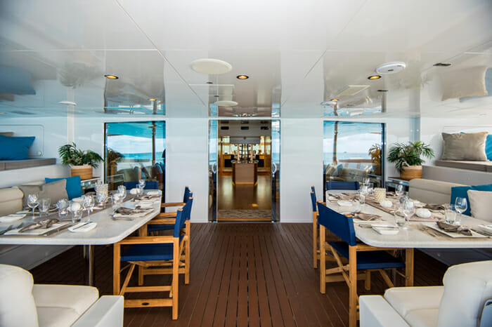 Yacht Bella Vita aft deck dining