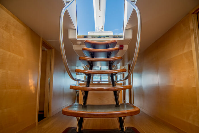 Yacht Bella Vita stairs to sundeck