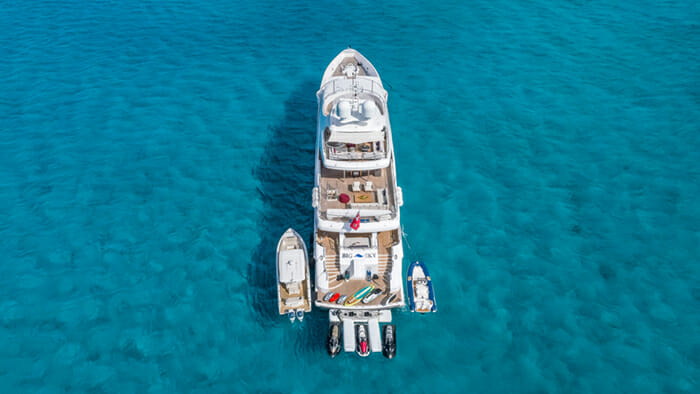 Yacht Big Sky Aerial Aft View