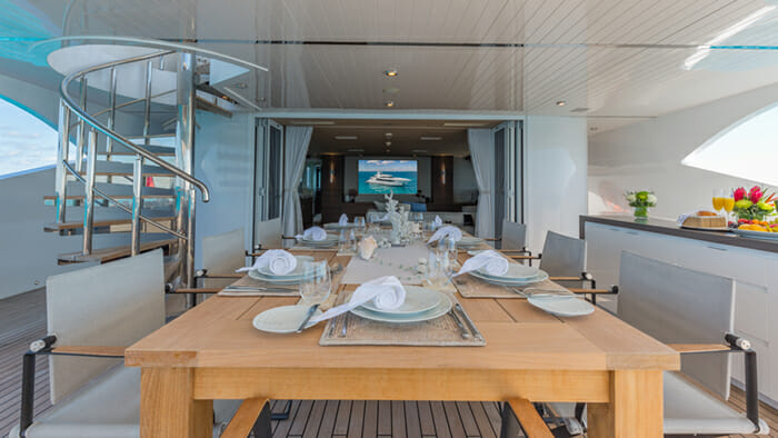 Yacht Big Sky Bridge Deck Dining