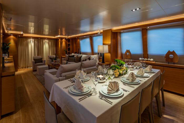 Yacht Celia salon and dining