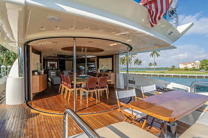 Yacht Intervention aft deck and dining area