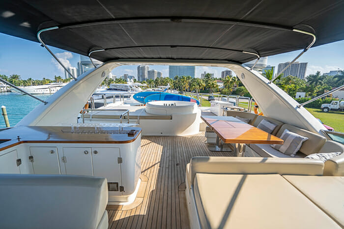 Yacht Intervention flybridge looking aft