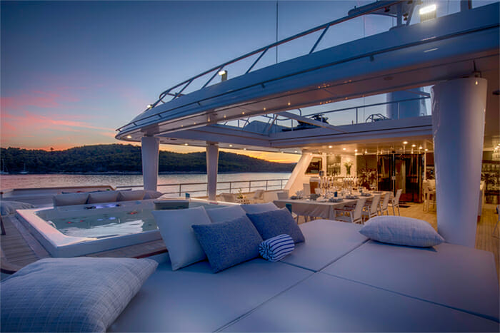 Yacht Katina Deck At Sunset