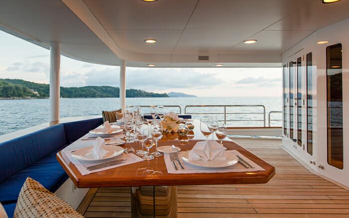 Yacht Northern Sun Aft Deck Dining