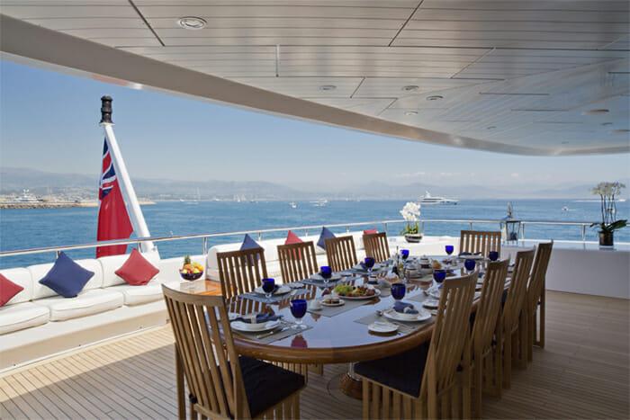 Yacht Sarah Upper Deck Dining