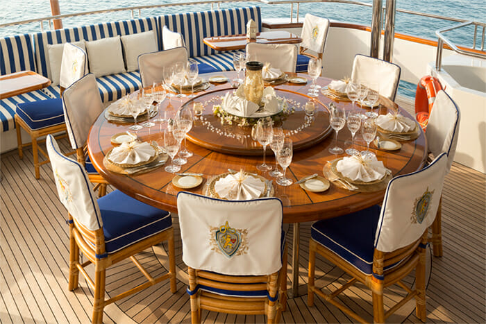 Yacht TCB Aft Deck Dining