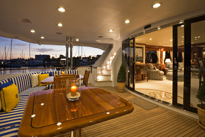 Yacht TCB Aft Deck At Night