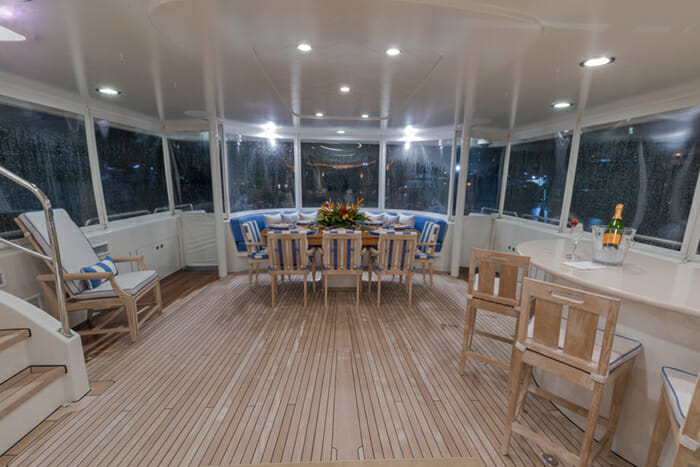 Canira enclosed aft deck