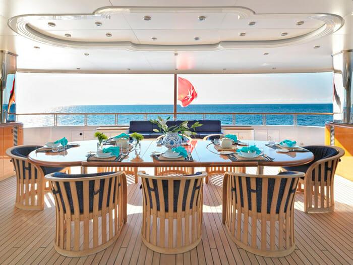 Capri I upper aft deck dining