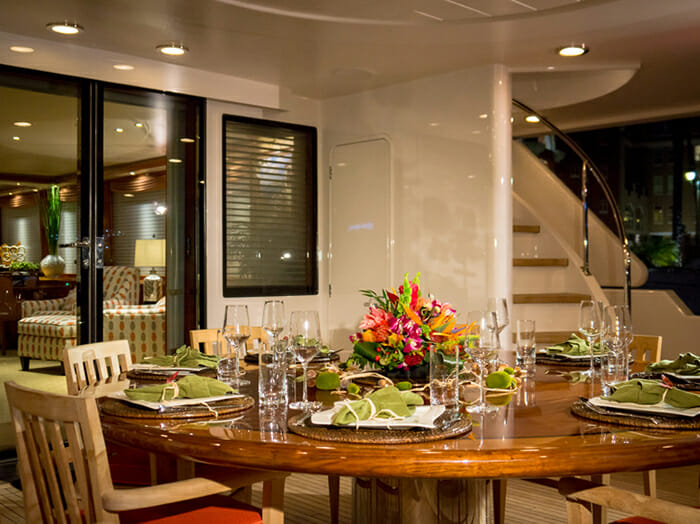 Chasing Daylight aft deck dining